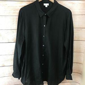 Pure Jill J Jill Black Linen Oversized Shirt Top